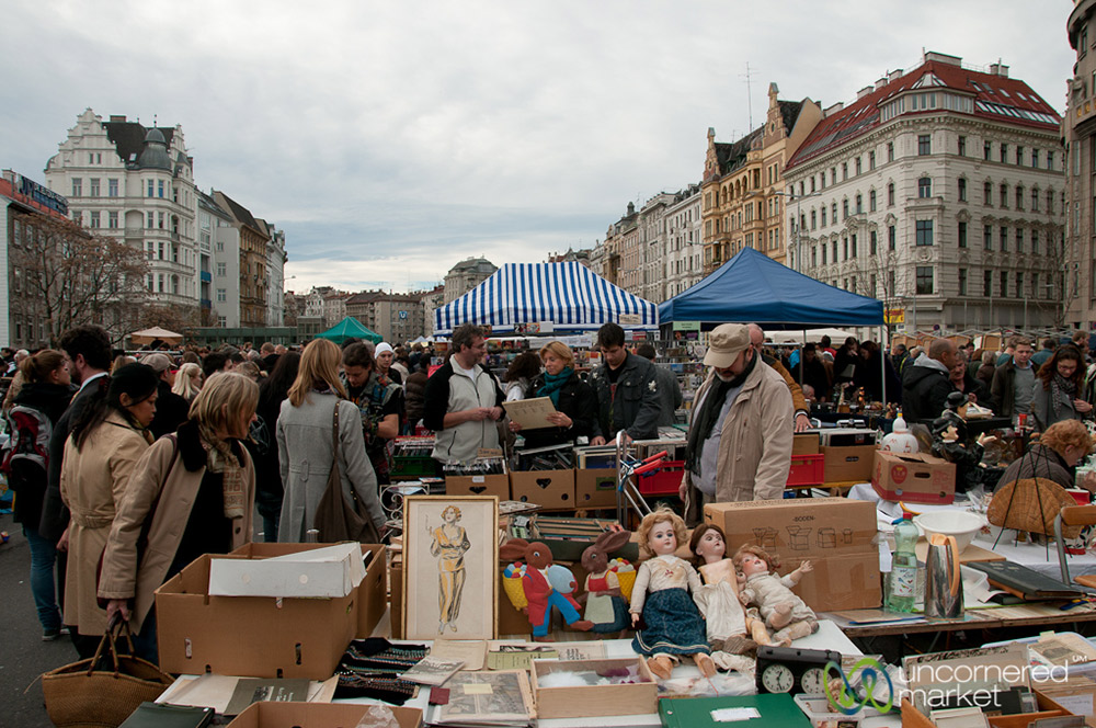 On Saturday morning, the area adjacent the Naschmarkt fills with a huge flea market.