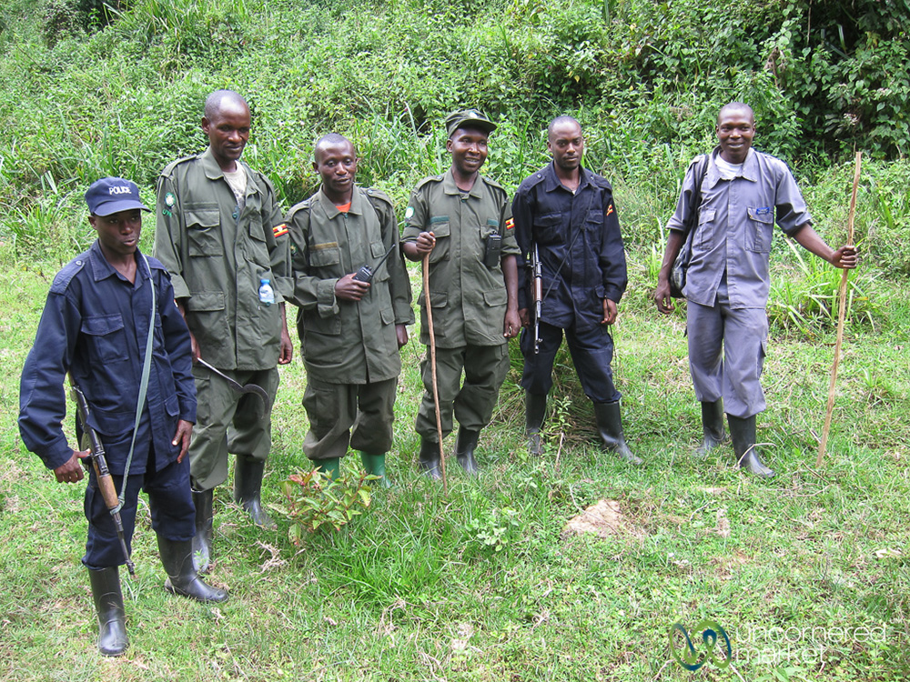 Our support team for gorilla trekking, including a lead guide, scouts, trackers, and a porter.