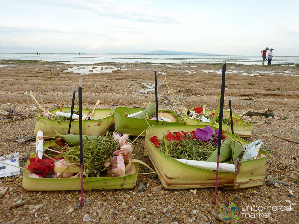 Offerings and prayers at Sanur Beach.