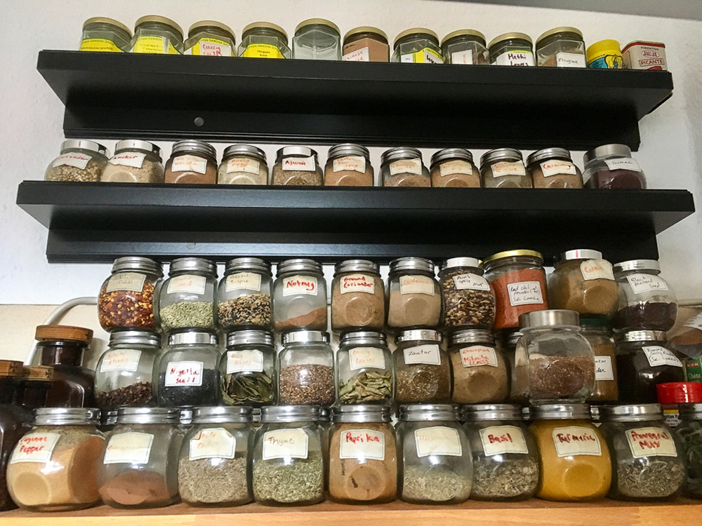 Our collection of more than 70 spices or mixtures, much of it acquired from our travels. Yes, we're a bit nuts.