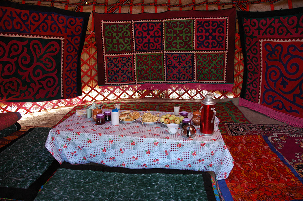 Breakfast in a yurt. A great way to start one's day.