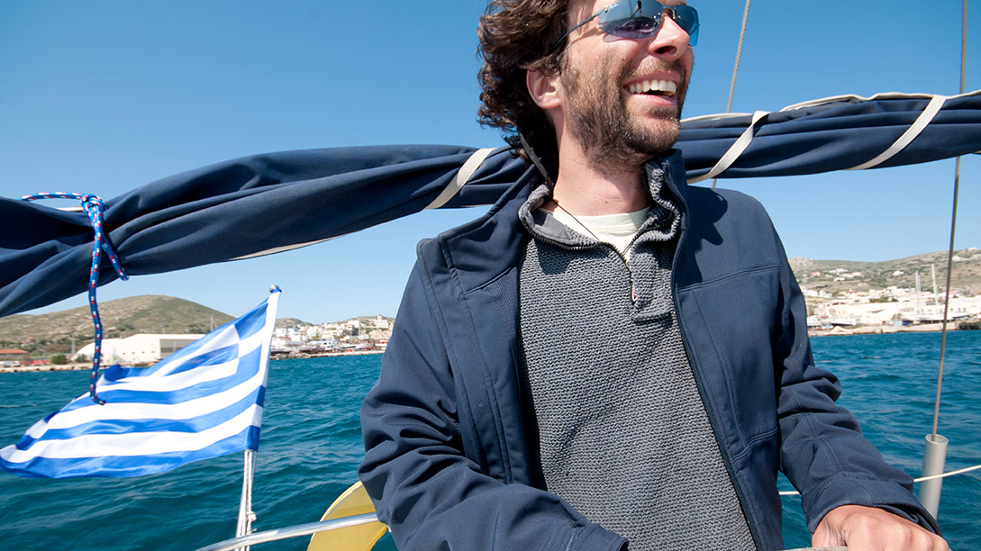 Skipper Dave at the helm in the Greek Islands.