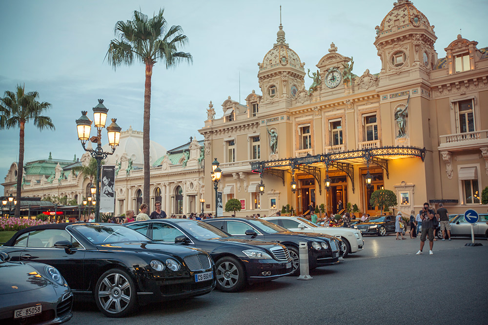 It sure appears glamourous outside of this casino in Monte Carlo.