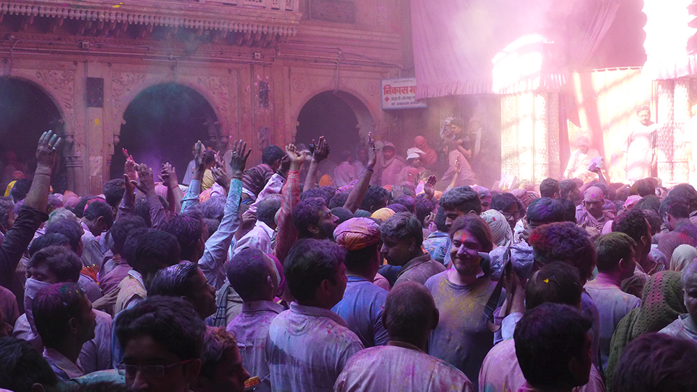 The crowds at Holi.