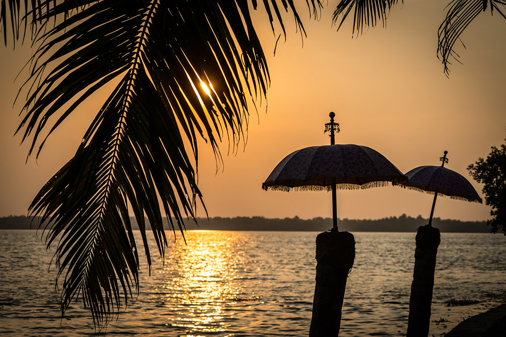 Sunset by the Kerala backwaters.