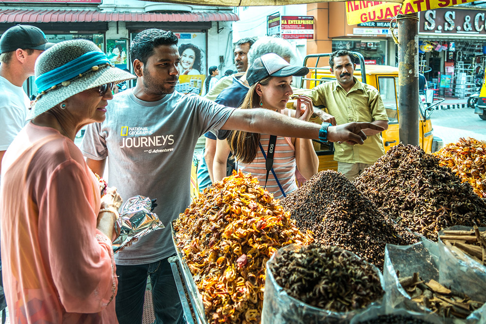 Our CEO at a spice market on Kochi.