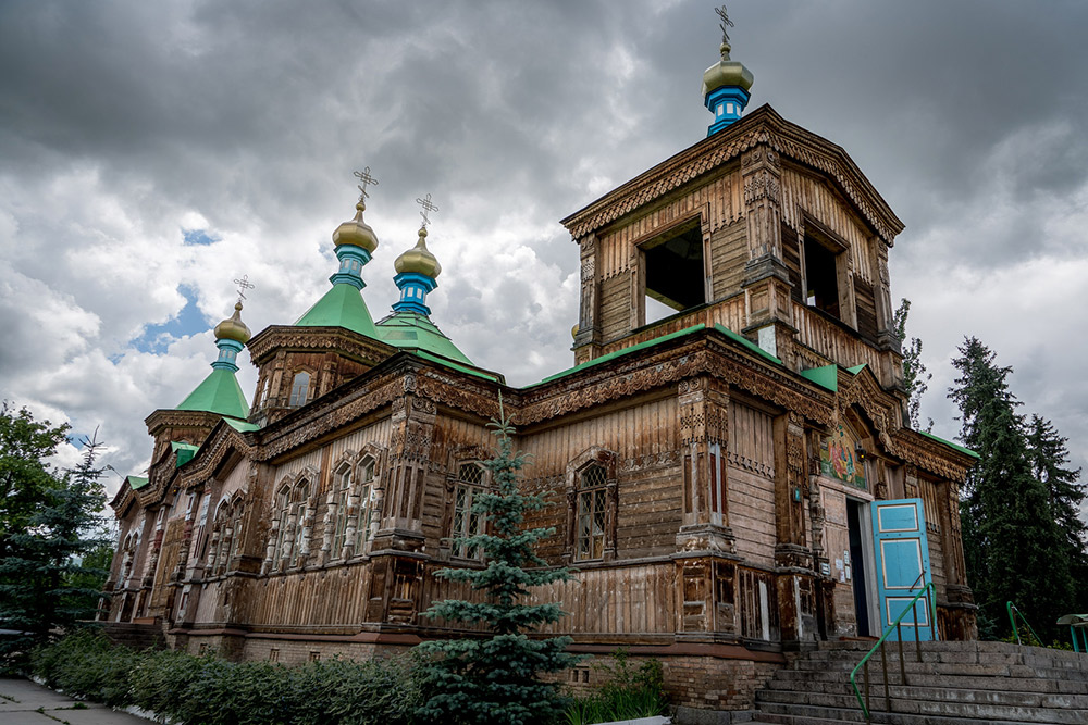 The Russian Orthodox Holy Trinity Cathedral in Karakol, Kyrgyzstan.