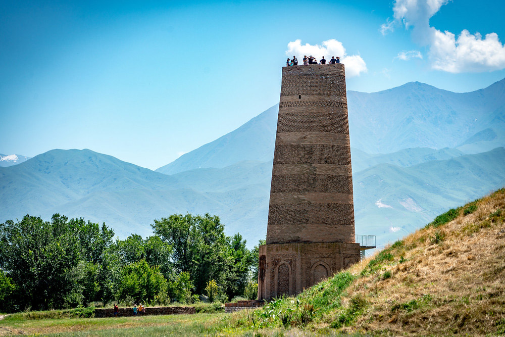 The Burana Tower stands proud as a UNESCO World Heritage site.