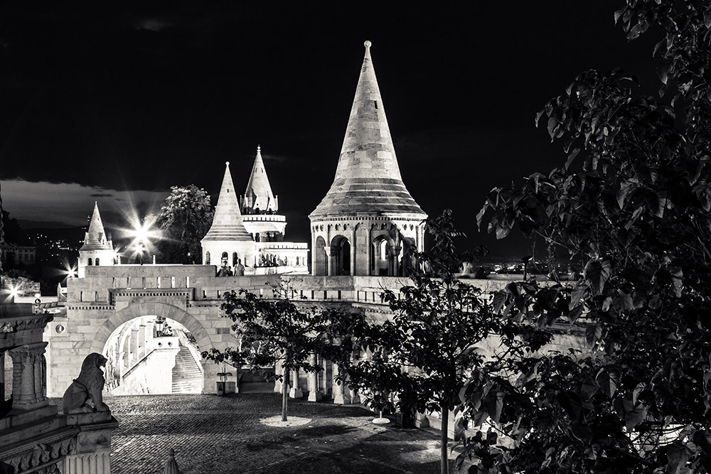 Fisherman's Bastion at night.