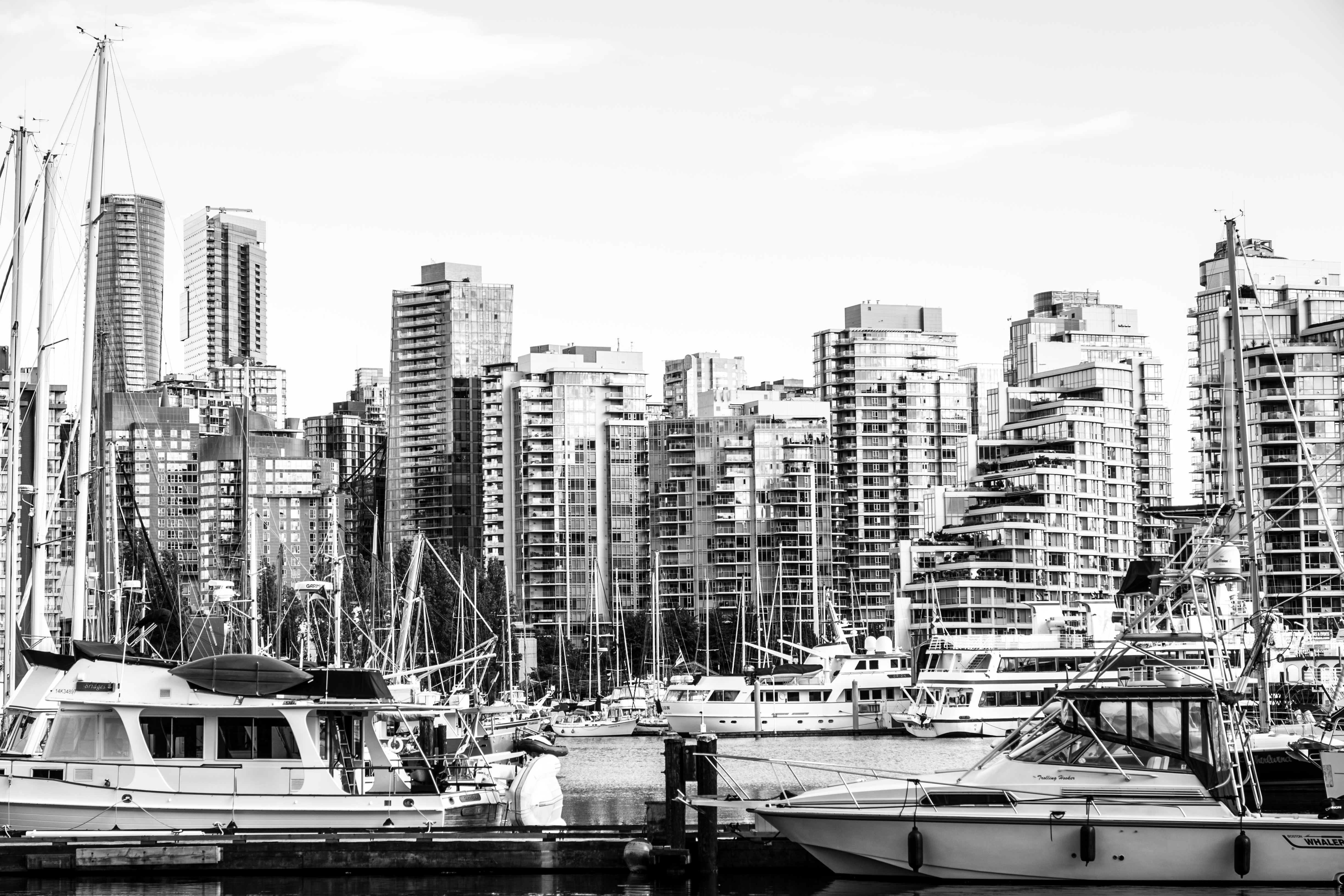 Vancouver's waterfront is dotted with many small inlets and boat docks.