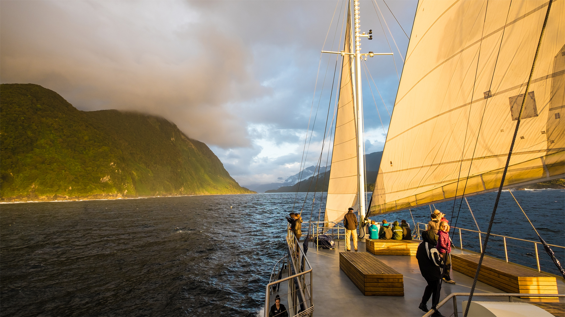 Sailing to Doubtful Sound from the Tasman Sea.