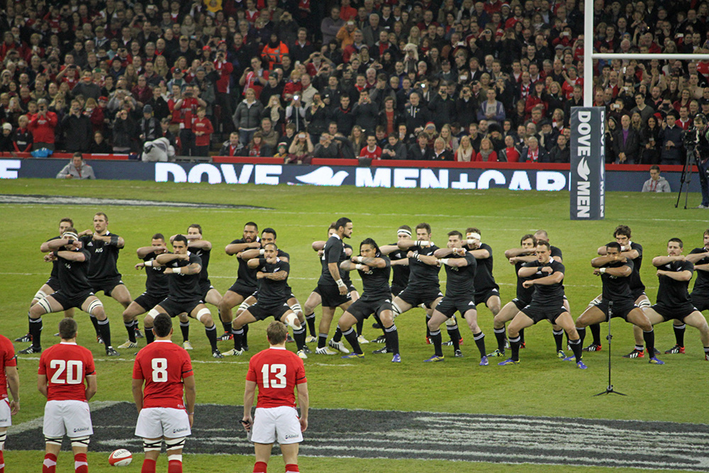 The New Zealand All Blacks perform a Haka. Photo courtesy of Simon Williams.