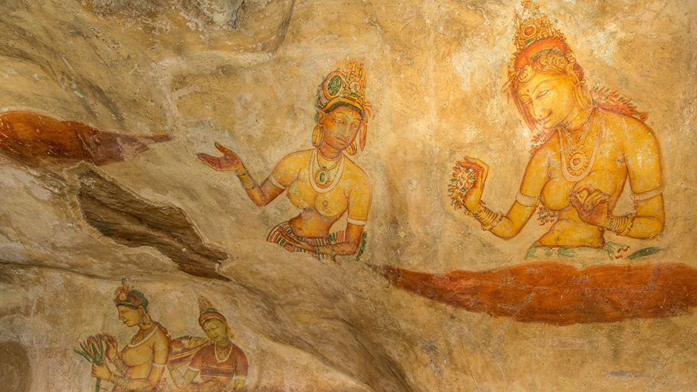 Rock paintings help to tell the story of Sigiriya.
