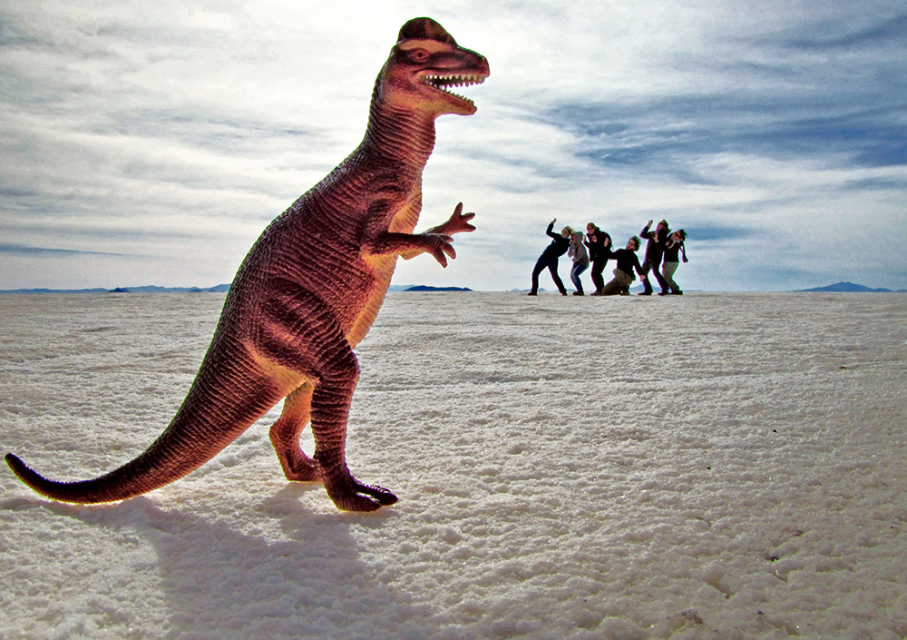 Something colourful like this toy dinosaur really works to create contrast against the Salt Flats. Photo courtesy G. Matthews.