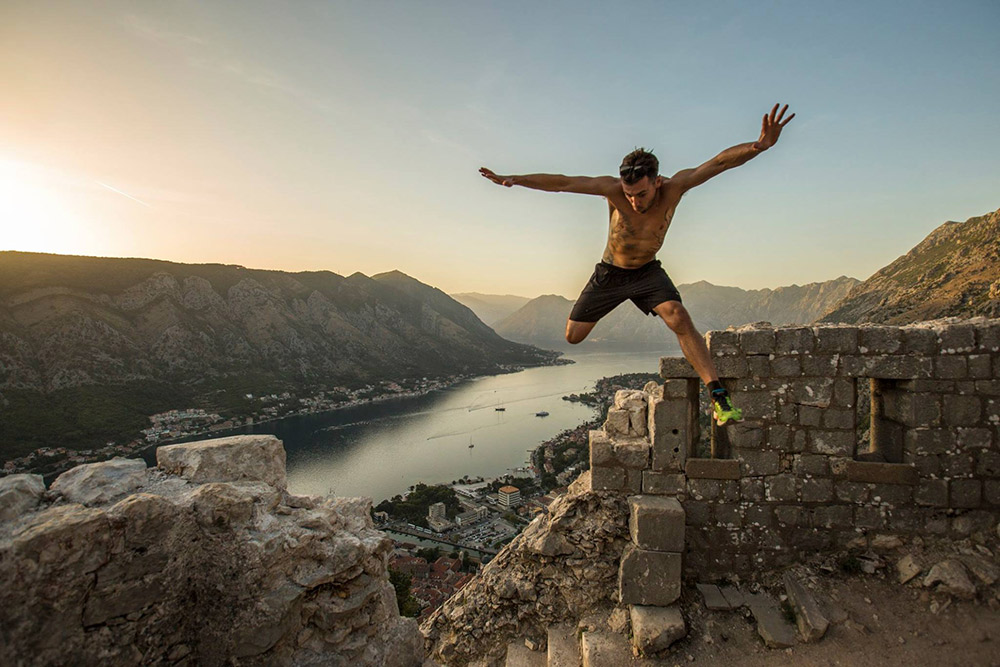 Jumping for joy at the Sveti Ivan Fortress.