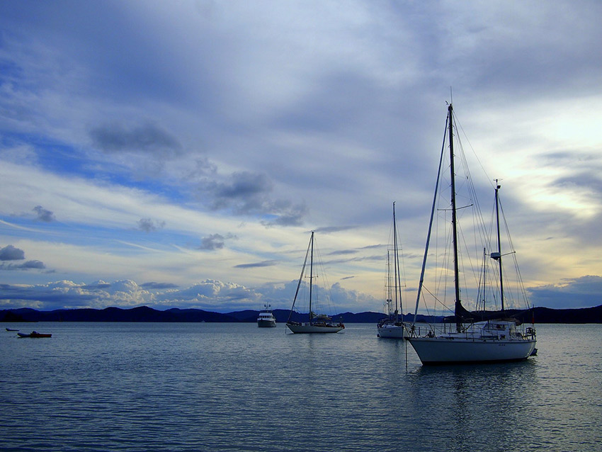 Anchored in the Bay of Islands.