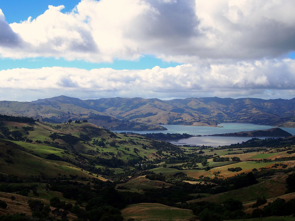 The harbour town of Akaroa.