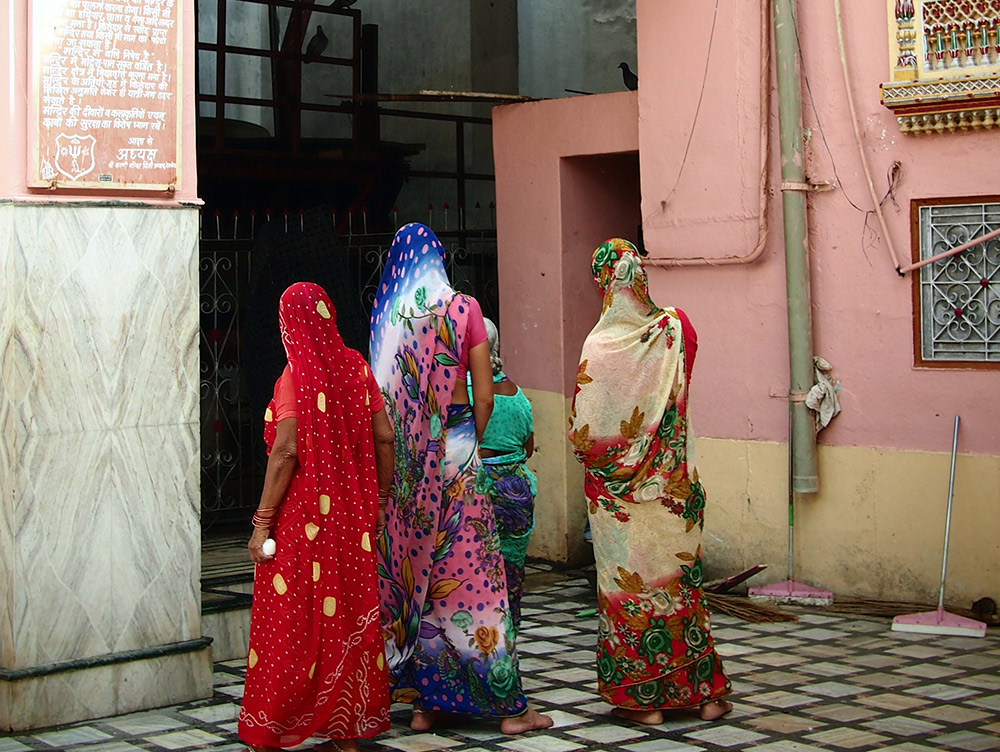 Pilgrims arrive at Karni Mata in Rajasthan.