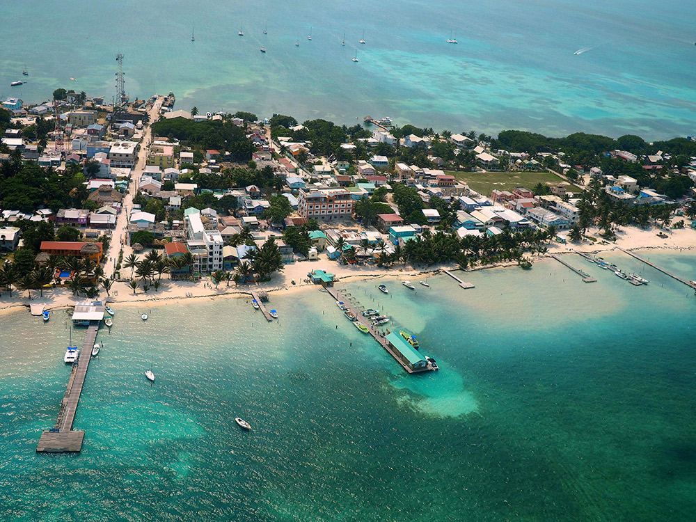 Caye Caulker from the air as we headed back.