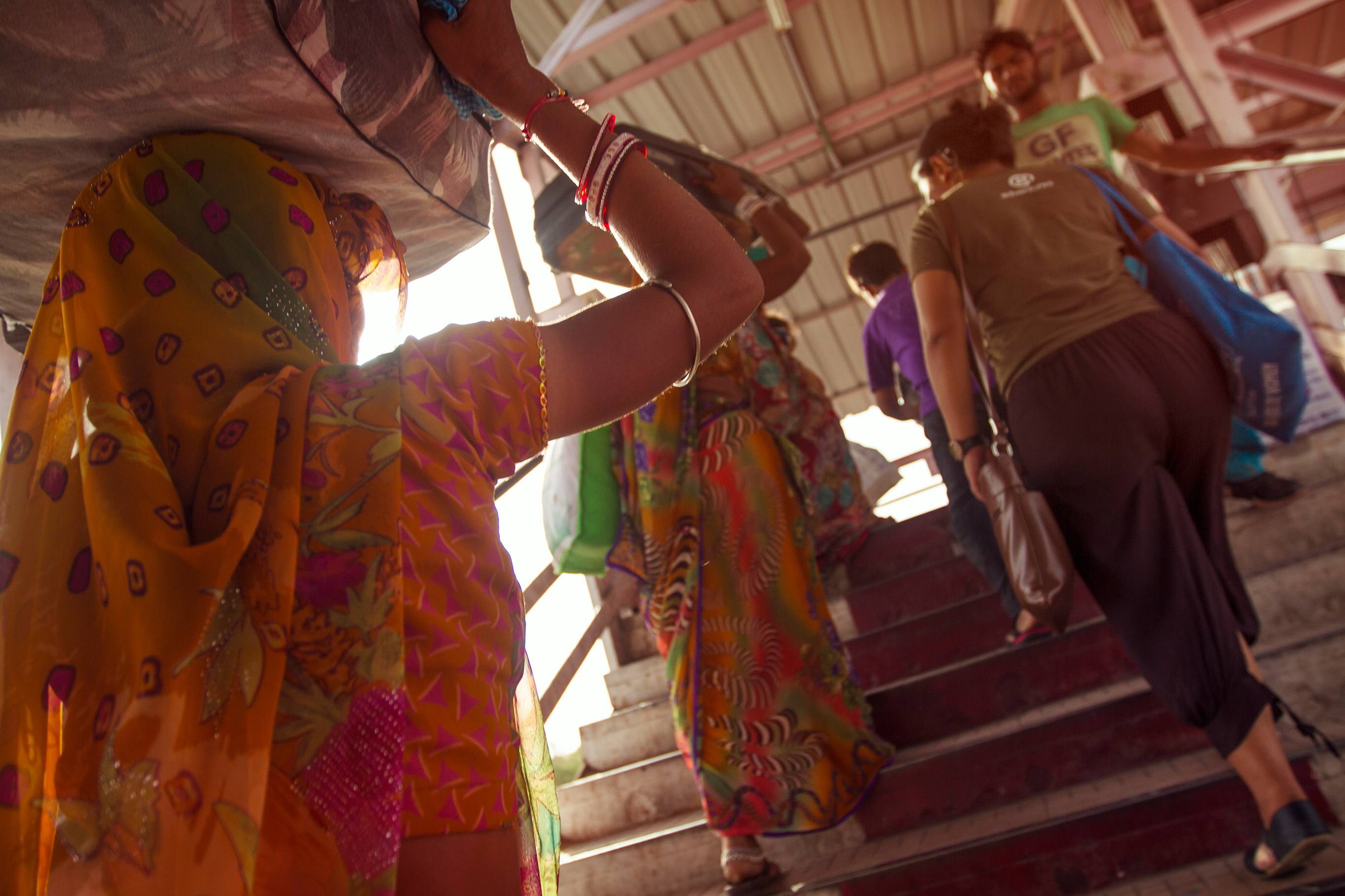 Colours abound at the train station in New Delhi.