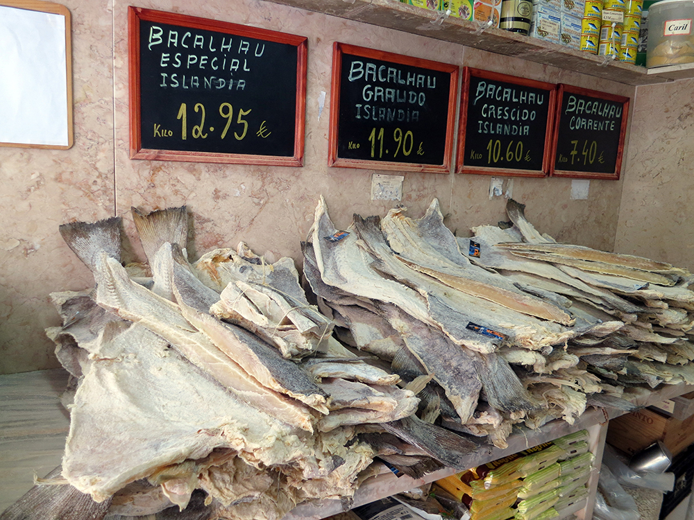 Bacalhau for sale at a market in Lisbon. Photo courtesy of Daniel Lobo.
