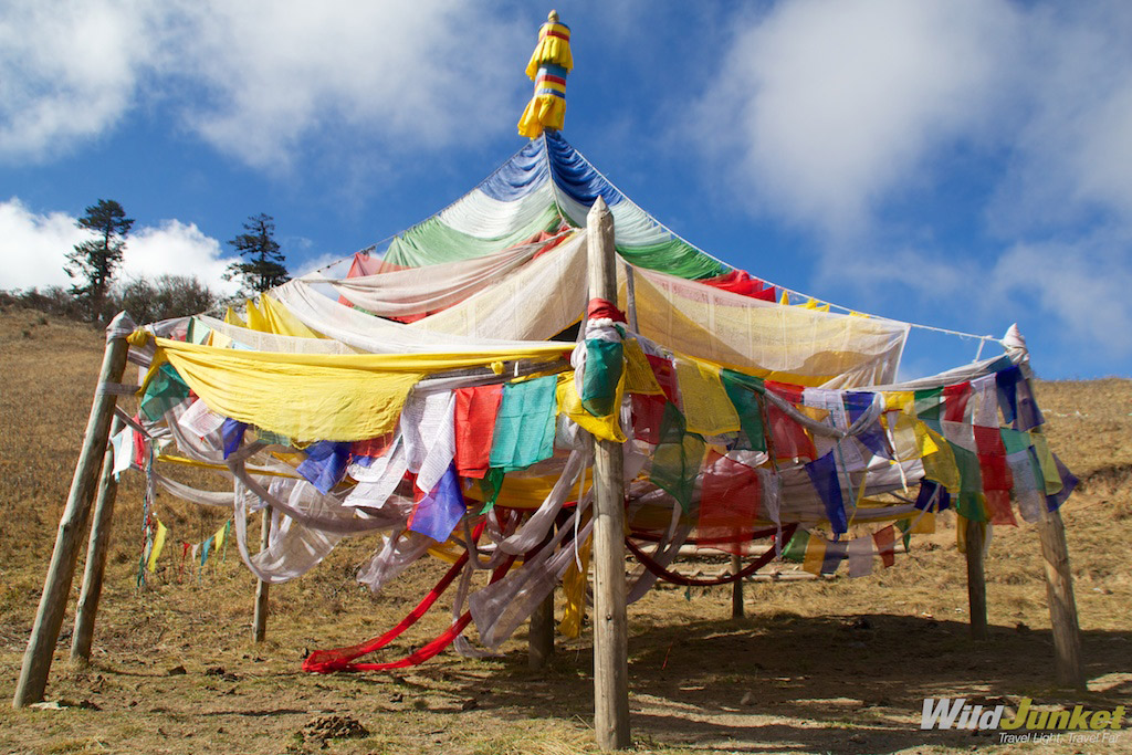 It's common to find prayer flags, especially at mountain passes.