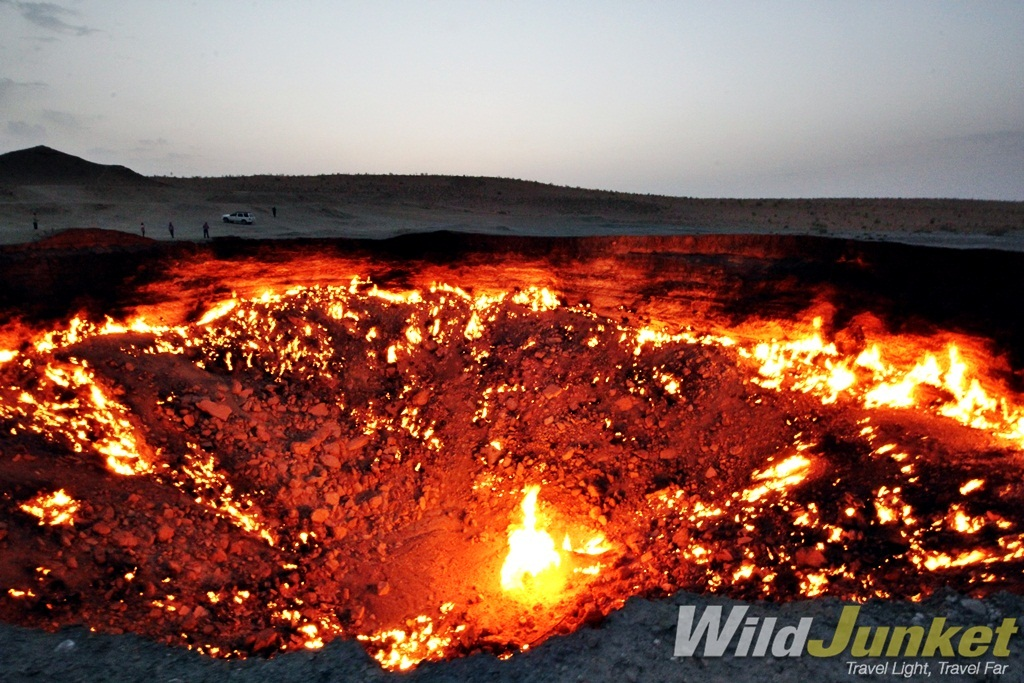 The Darvaza gas craters in Turkmenistan.
