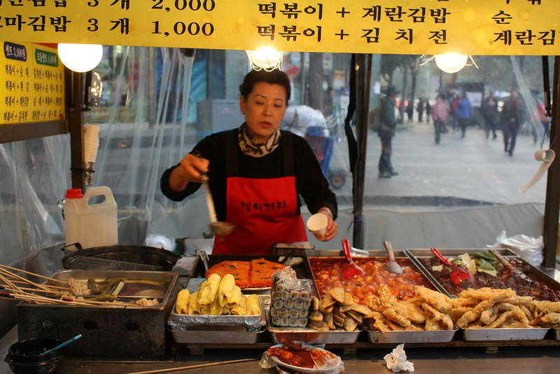 A wide array of street food, including tteokbokki.