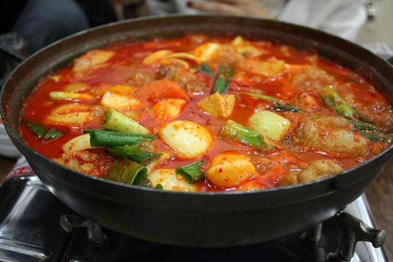 Fiery and pungent kimchi jiggae.