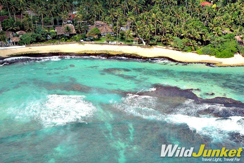 Wild, rugged beaches line the coast of Sri Lanka.