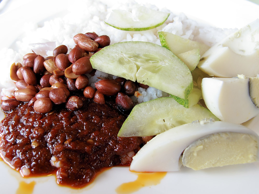 "Translated, nasi lemak means ""fatty rice."" Photo courtesy Stratman."