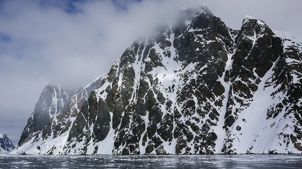 The contrast of black and white on the Vernadsky Mountains.