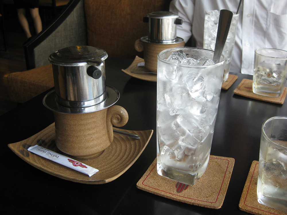 Vietnamese coffee, known as ca phe sua da, prepared in a Trung Nguyen café in Vietnam. Photo courtesy of JaulaDaArdilla