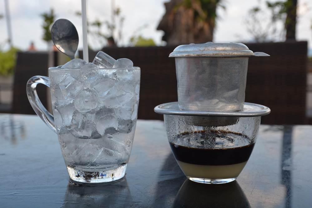 Ca phe sua da is traditionally prepared with sweetened, condensed milk. Photo courtesy of Paul A.