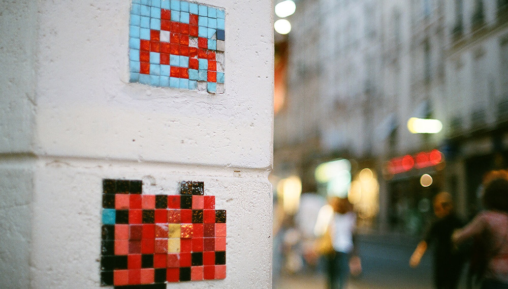 Invader takes inspiration from the 1980's cult classic arcade game Space Invaders. Photo courtesy Yves B..
