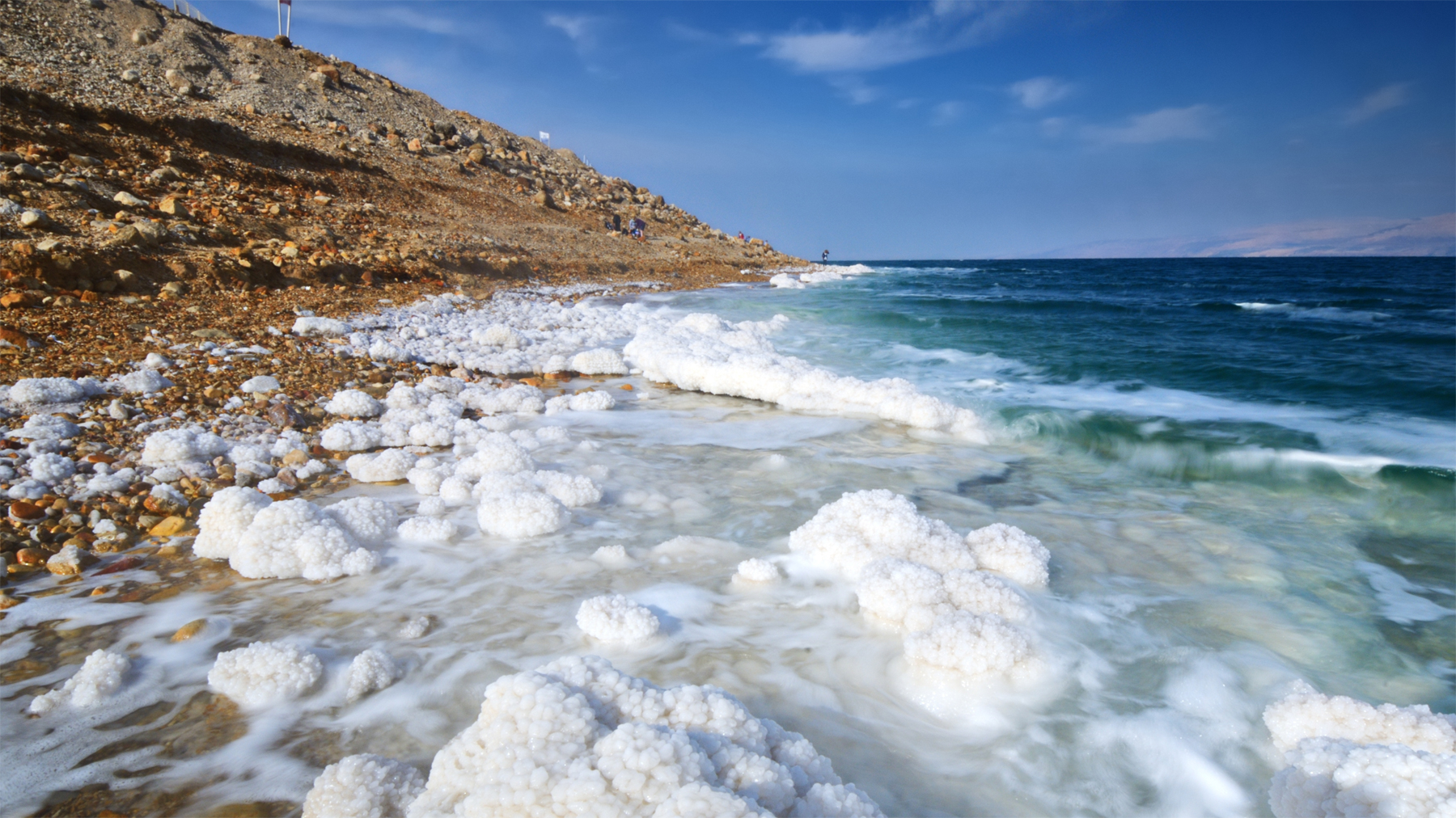 The famously salty banks of the Dead Sea.