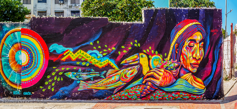 A sampling of Santa Marta's street art. This piece is by the artist Guache. Photo courtesy Alexander S.