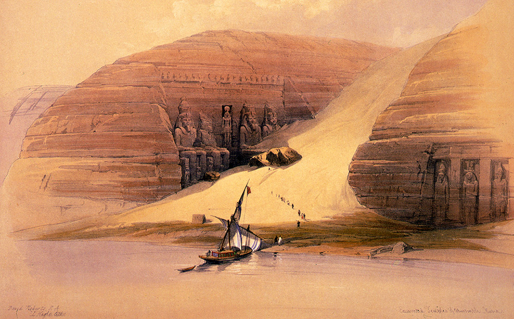 This 19th century image by David Roberts shows the emerging seated statues. Photo courtesy Wiki.