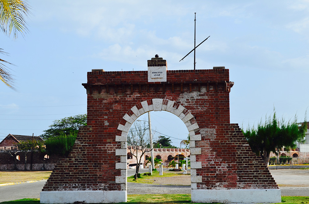 The gate into Port Royal. Photo courtesy of caribbeancables.