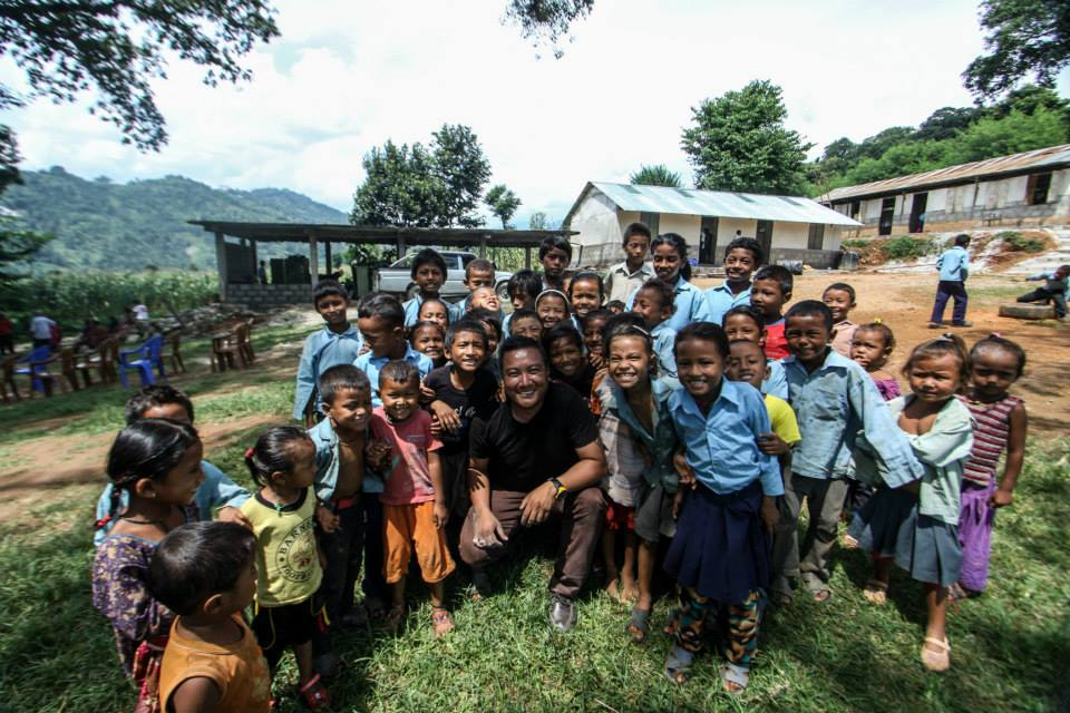 School children and their smile on a break from their studies in the Langtang region.