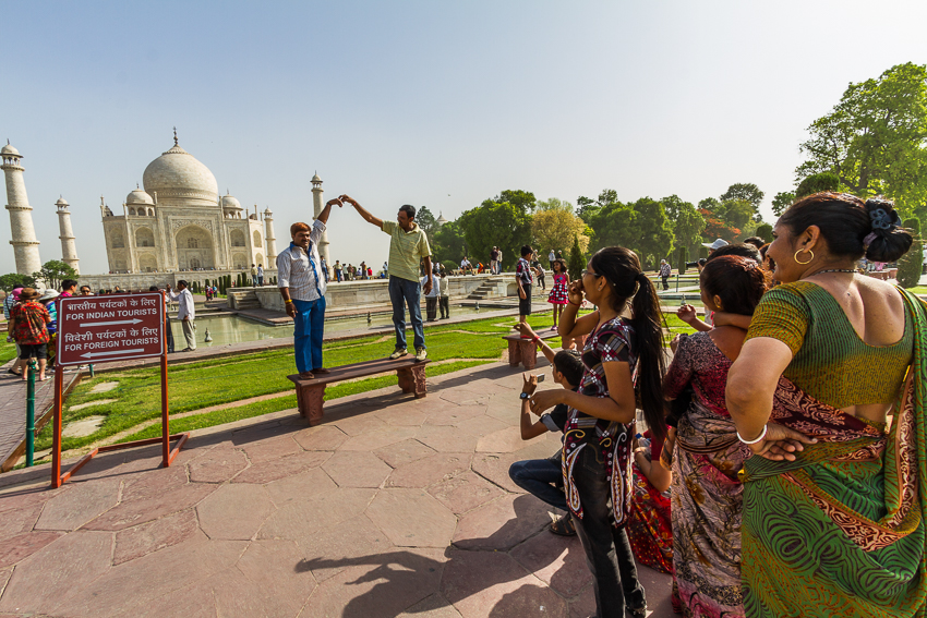 Capturing some fun and folly at the Taj Mahal.