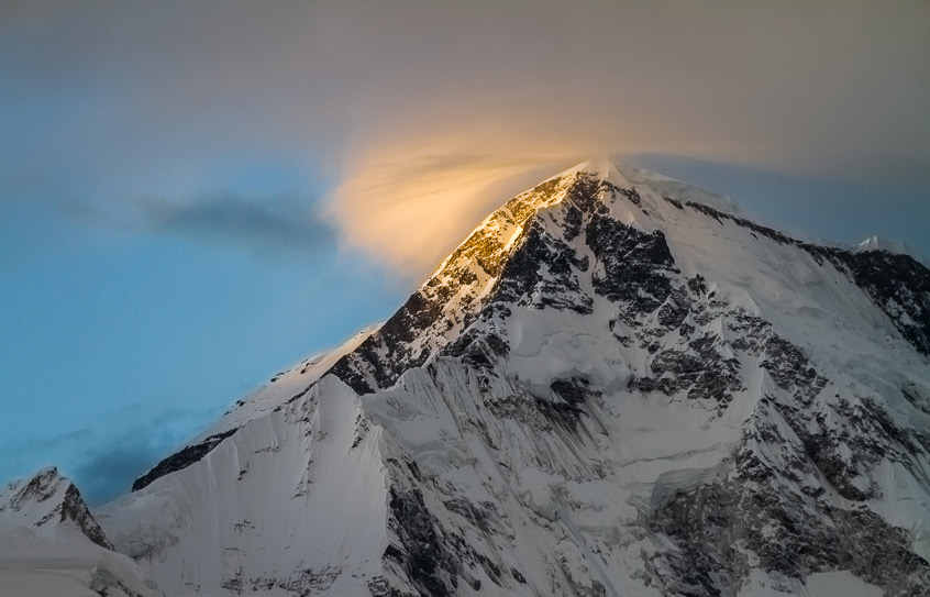 Sunset on Cho Oyu, Nepal.