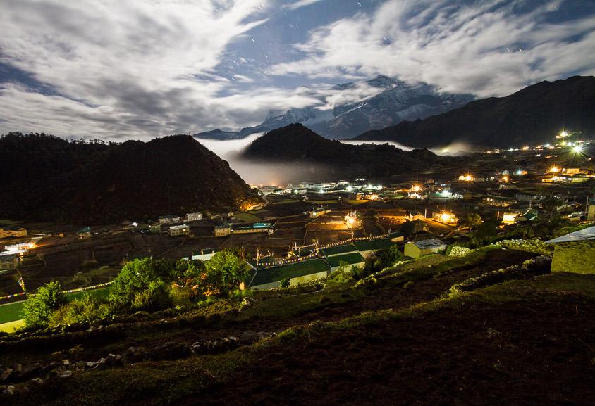 Khumjung under the moonlight.