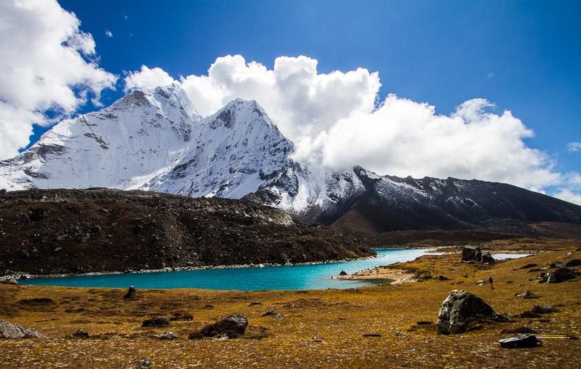 The back side of Ama Dablam has a whole different feel and a crystal clear alpine lake at its base.