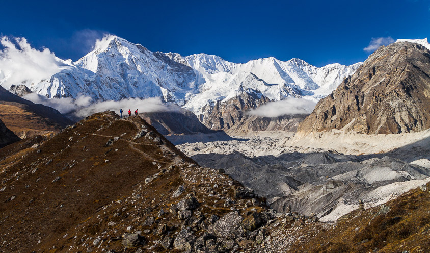 """Cho Oyu means """"Turquoise Goddess"""" in the Tibetan language. Here it sits alongside the and the Ngozumpa Glacier, Nepal."""