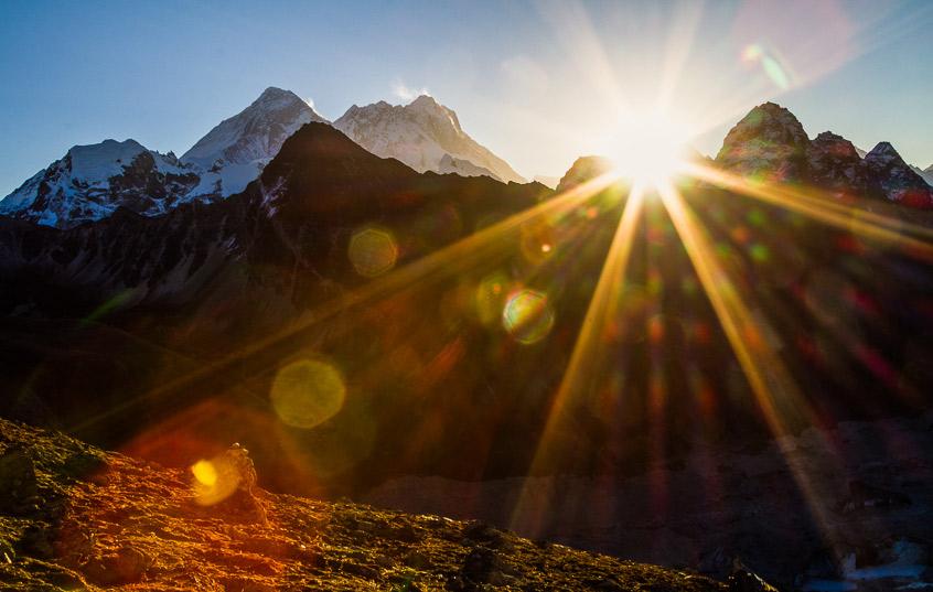 Sunrise over the Himalayas.
