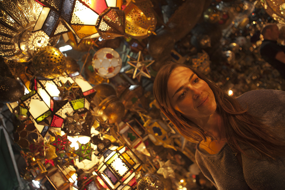 Copper lanterns are among the wares available at Morocco's many famous souks.