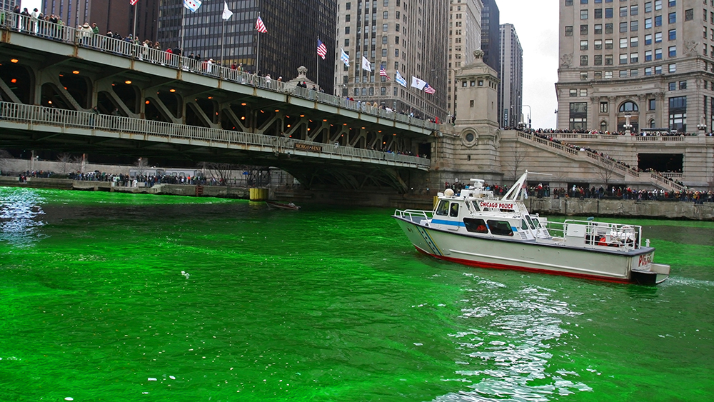 The Chicago River is dyed green every year to commemorate St. Patrick's Day.