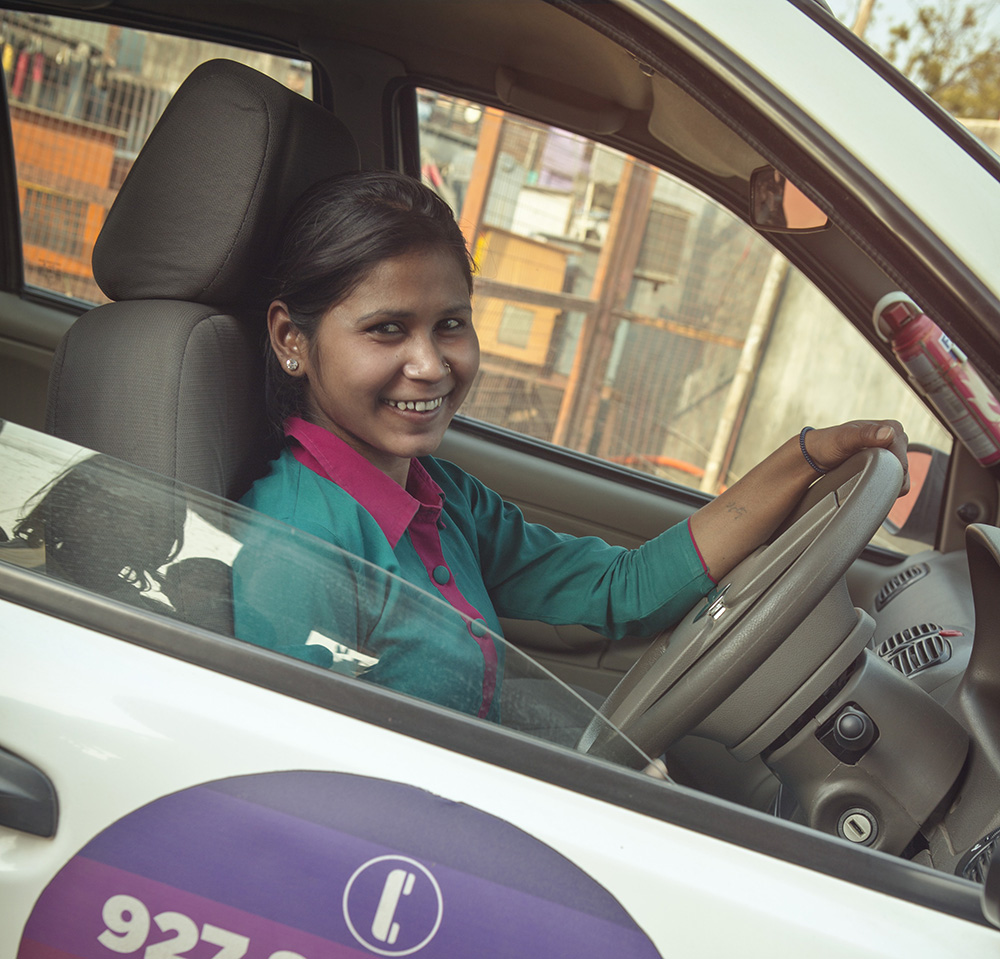 Neha is one of the drivers for the Women On Wheels program.