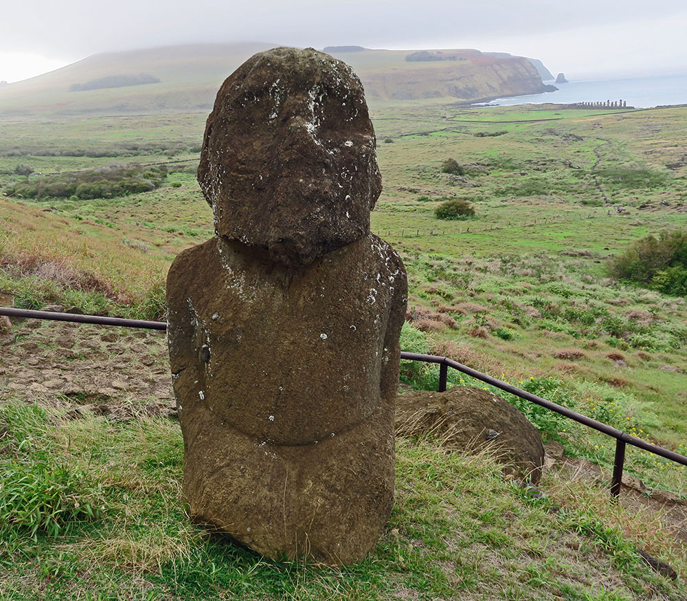 Tukuturi's kneeling pose, beard and rounded head make this moai unlike any other.